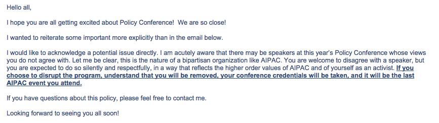 AIPAC email warning against protests
