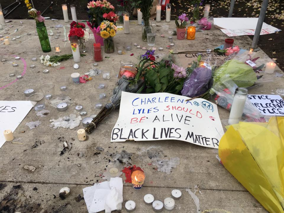A memorial for Charleena Lyles killed by Seattle police, photo via Michelle Li on Facebook (@mlitv)