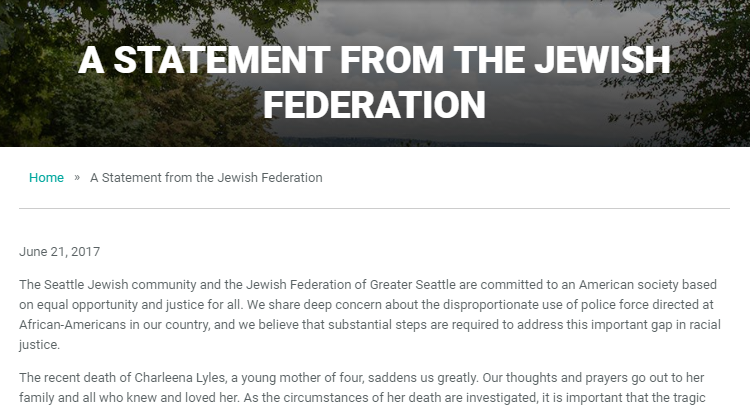 Jewish Federation of Greater Seattle statement on Charleena Lyles shooting