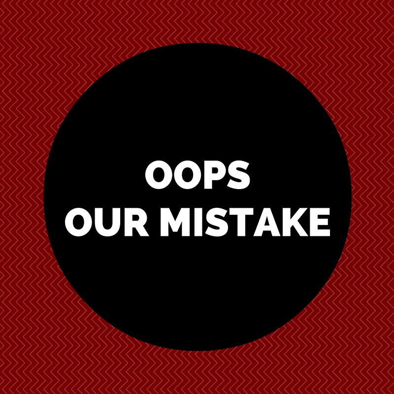 Oops, our mistake error message
