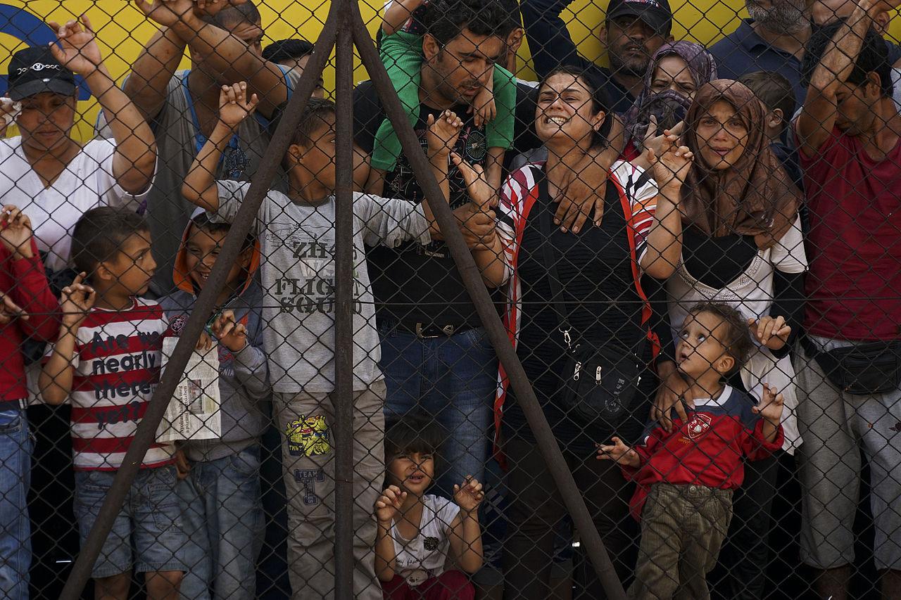 Women and children among Syrian refugees striking at the platform of Budapest Keleti railway station. Refugee crisis. Budapest, Hungary, Central Europe, 4 September 2015. Courtsey of Wikipedia Commons user Mstyslav Chernov.