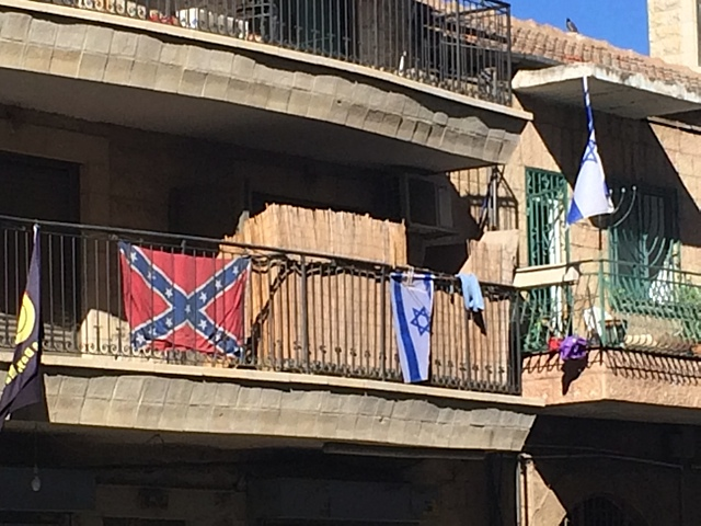 Confederate flag spotted in Jerusalem on Agripas Stret in summer 2014, photo anonymous