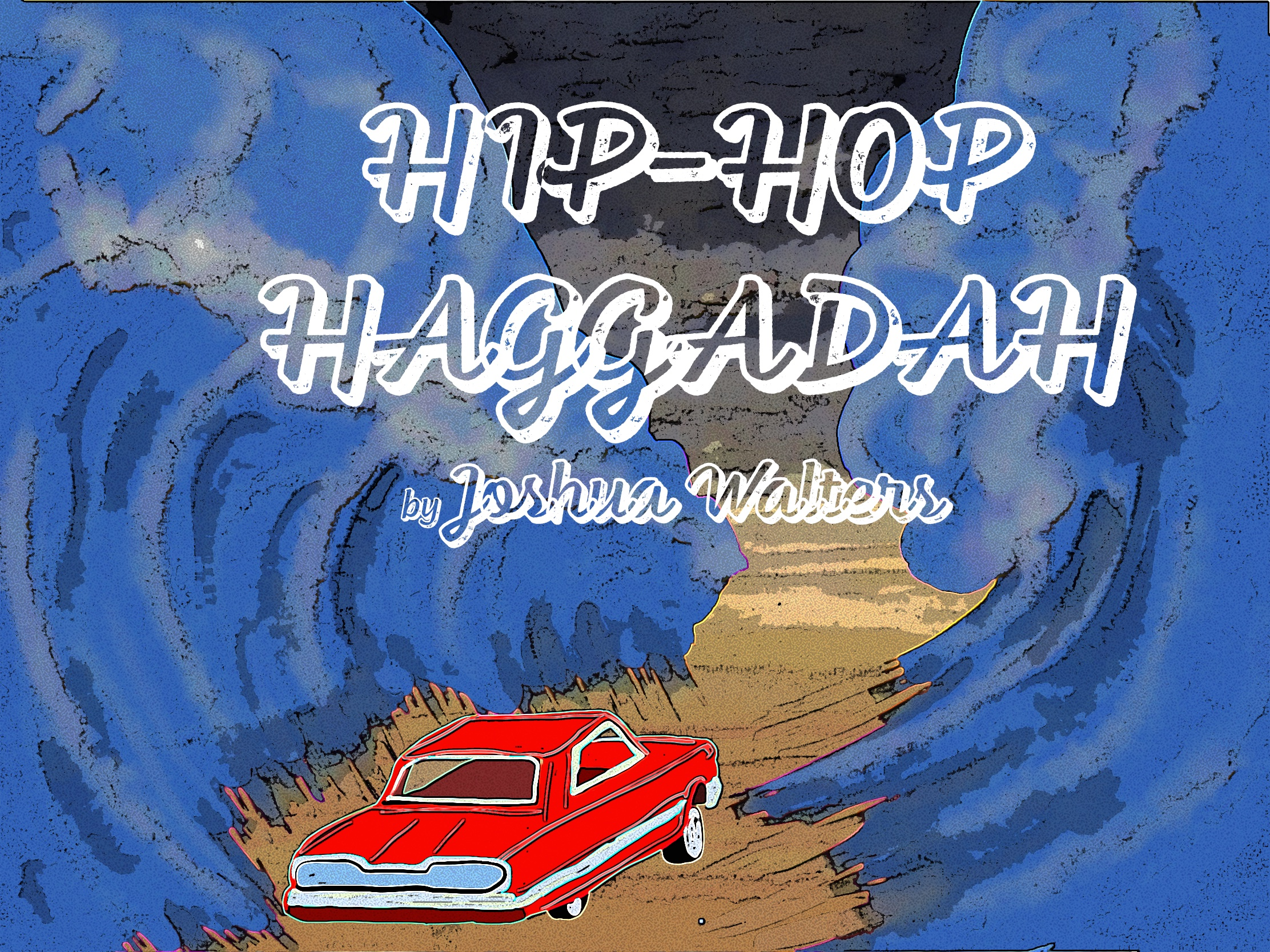 Hip-Hop Haggadah cover image, featuring a red car driving through the split in the Red Sea